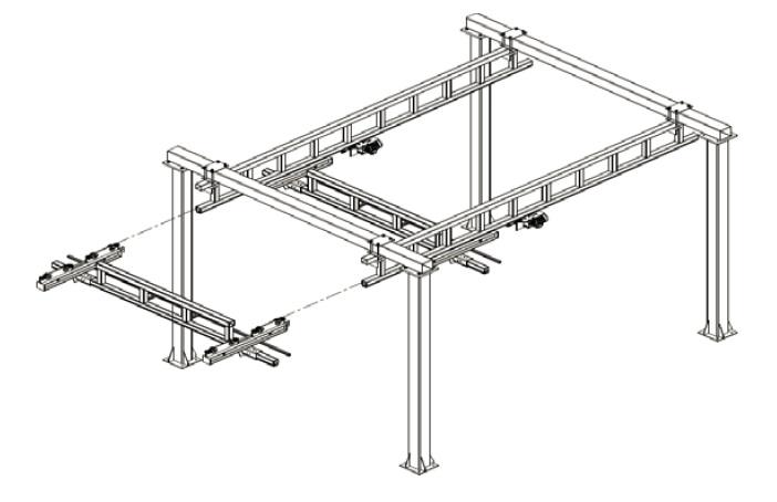 Montáž soupravy příčného mostu a posuvných mostových vozíků