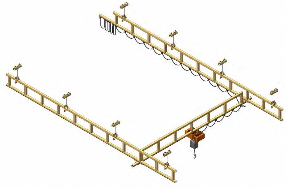 Mostový jeřáb s příhradovou konstrukcí montovaný na strop
