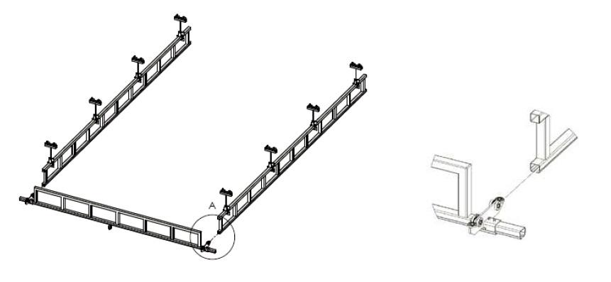 Montáž příčného mostu s vyztužením