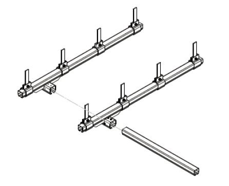 Montáž příčného mostu s využitím jedné volné strany konstrukce