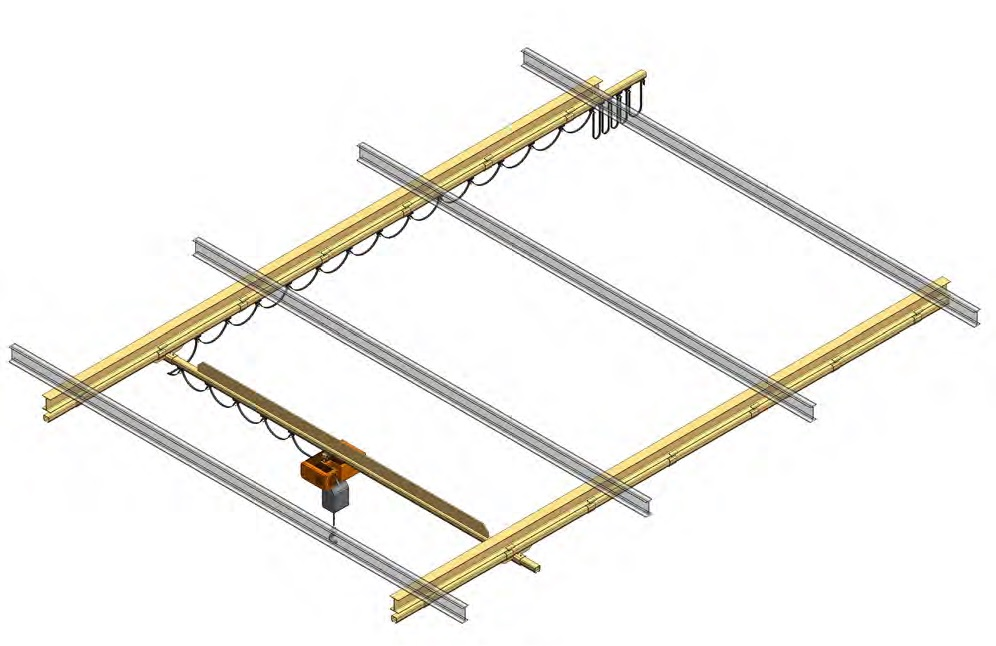 Mostový jeřáb bez výztuže montovaný na strop